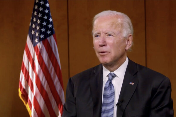 Former Vice President Joseph R. Biden Jr. at the second night of the virtual Democratic National Convention.