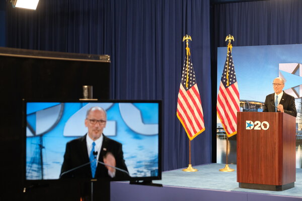 Tom Perez, the chairman of the Democratic National Committee, spoke at the Wisconsin Center on Tuesday, the second day of the Democratic National Convention.