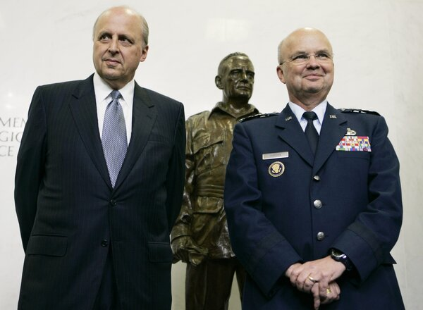 Security: Among the signatories are former officials like John Negroponte, left, the former director of national intelligence, and Gen. Michael Hayden, who served as director of the Central Intelligence Agency and the National Security Agency.