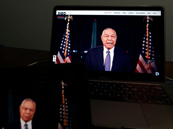 Security: Colin Powell, the former U.S. secretary of state, spoke in support of Mr. Biden during the virtual Democratic National Convention on Tuesday.