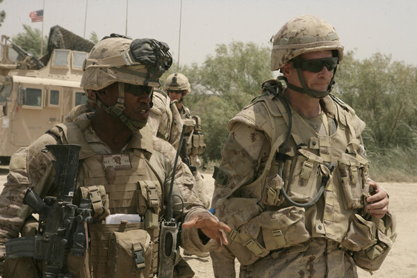 Colonel Henderson in Helmand Province, Afghanistan, in 2008. He has described commanding Marines in southern Afghanistan in the most vicious fighting he had ever seen.