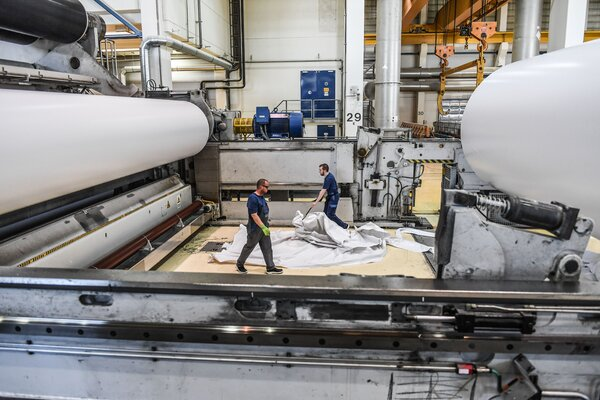 A paper production line in Germany in June. The country's economy is rebounding, but a full recovery is likely to take years.