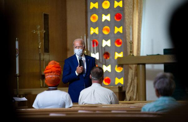 Joseph R. Biden Jr. spoke at Grace Lutheran Church in Kenosha on Thursday.