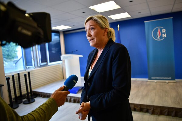 Marine Le Pen at her party headquarters near Paris in June. She is President Emmanuel Macron's main challenger for now in the 2022 election.