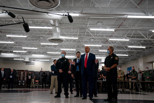 President Trump greeted law enforcement officers at a high school in Kenosha, Wis., last week. He has staunchly defended the police and repeatedly criticized protesters who have called for racial justice for Black Americans.