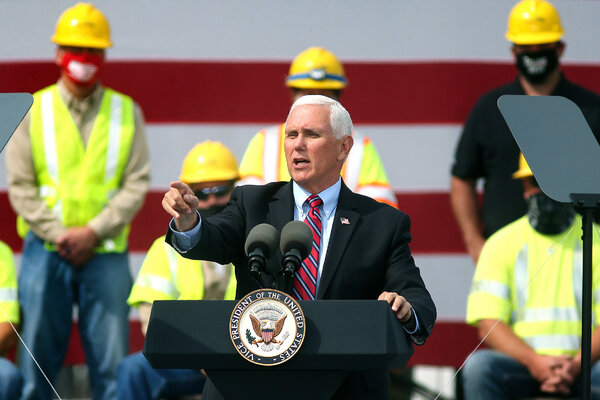 Vice President Mike Pence during a campaign event at Dairyland Power Cooperative in La Crosse, Wis., on Monday.