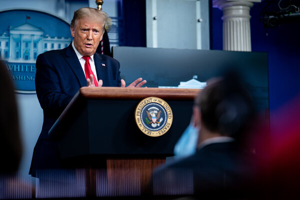 At a news conference on Thursday, President Trump defended himself, again, against revelations in Bob Woodward's book that he intentionally downplayed the threat from the coronavirus.