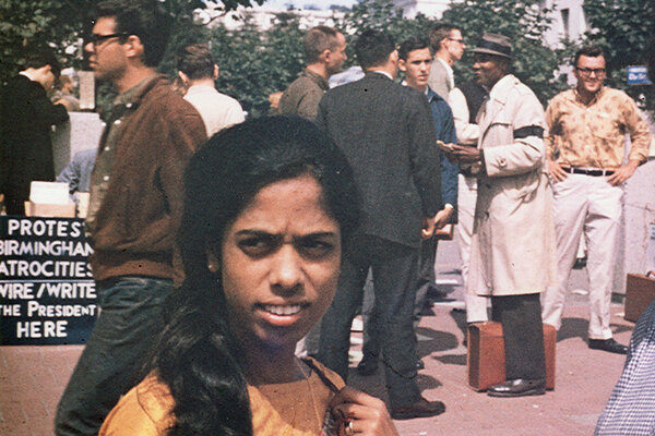 Ms. Gopalan at a civil rights protest in Berkeley, Calif.