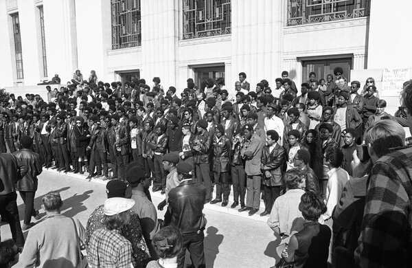 Members of the Black Panthers outside of a courthouse in Oakland, Calif., in 1968.