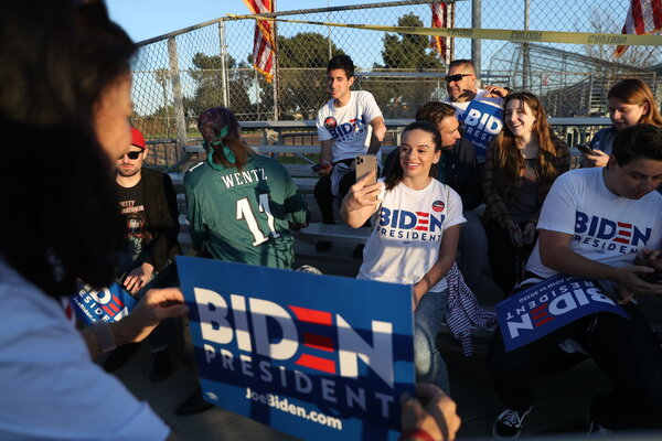 Biden supporters in Los Angeles in March. Mr. Biden is not particularly popular among young voters nationwide, but they view President Trump even less favorably.