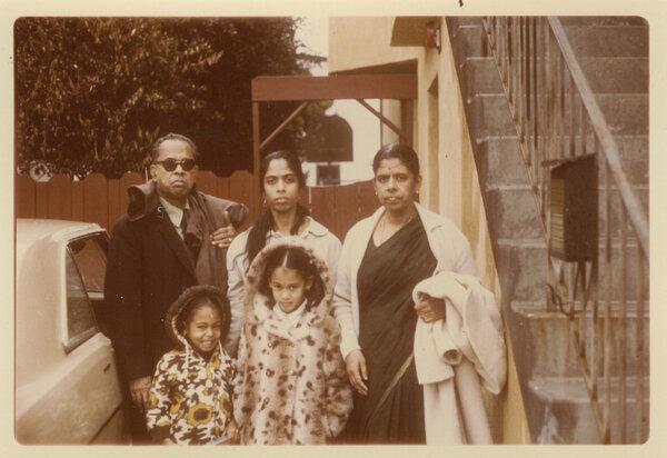 Kamala Harris with her mother Shyamala, center, her sister Maya, bottom left, and her maternal grandparents, P.V. and Rajam Gopalan, in 1972.