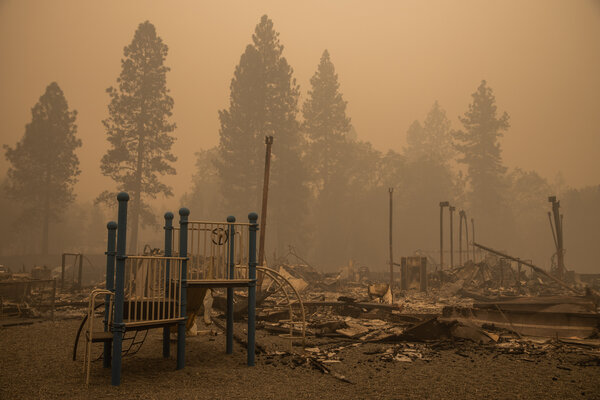 The burned remains of Berry Creek Elementary School in Berry Creek, Calif., on Saturday.