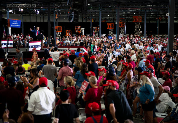 President Trump held an indoor rally in Henderson, Nev., on Sunday that drew thousands, ignoring state rules limiting gatherings to 50 people because of the coronavirus.  Election Updates: Fires and Coronavirus Shadow Trump on Campaign Trail merlin 176994366 32db5f5a 92c2 470d 9534 02d8b418687a articleLarge