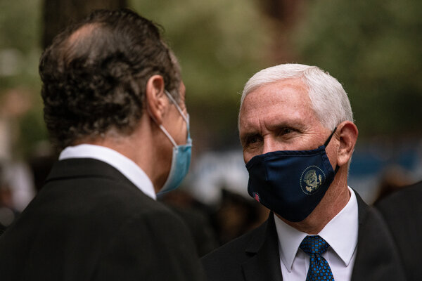 Vice President Mike Pence had planned to attend a fund-raiser hosted by Republican donors who have helped spread the QAnon conspiracy theory.  Election Updates: Fires and Coronavirus Shadow Trump on Campaign Trail merlin 176866119 41daec63 76c1 48dc 8e75 21c396f1e580 articleLarge