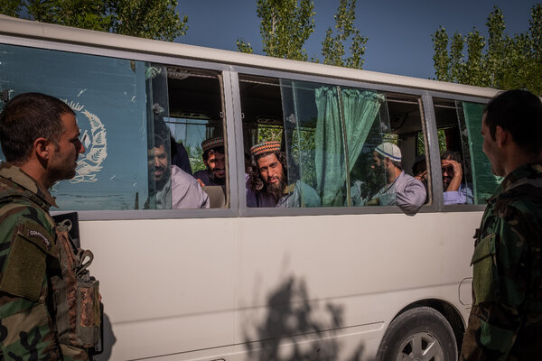 Taliban prisoners, before being released, at the Bagram military base in Afghanistan in May.
