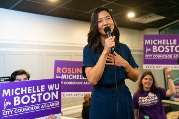 Michelle Wu with supporters after winning re-election last November.