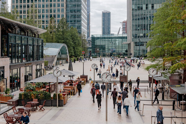 Canary Wharf in London is home to many financial firms. Britain is facing the possibility of withdrawing from the European Union without a trade agreement.