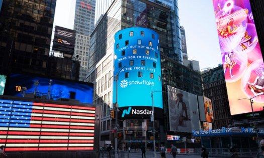 Snowflake promoted at the Nasdaq MarketSite in Manhattan last month.