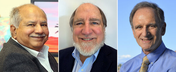 From left, Raj Reddy, Ronald Rivest and Martin Hellman.