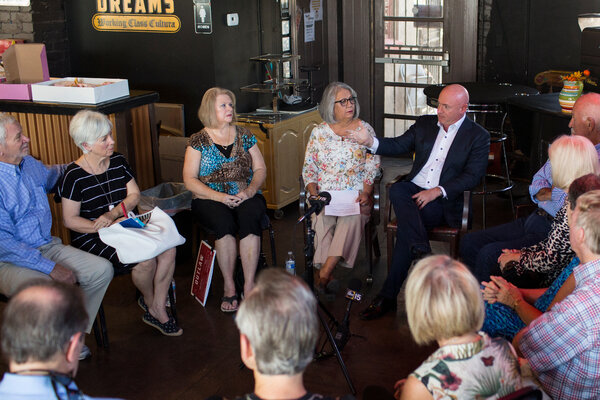 Mark Kelly, the Democratic Senate nominee in Arizona, with supporters in Phoenix last year.