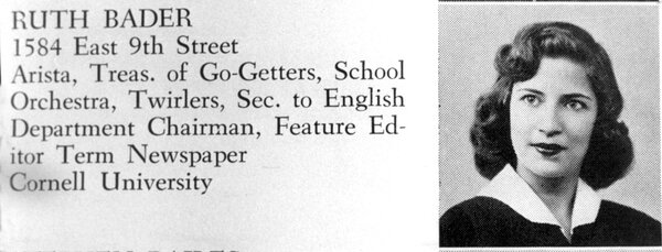 The future Supreme Court justice in her 1950 James Madison High School yearbook.