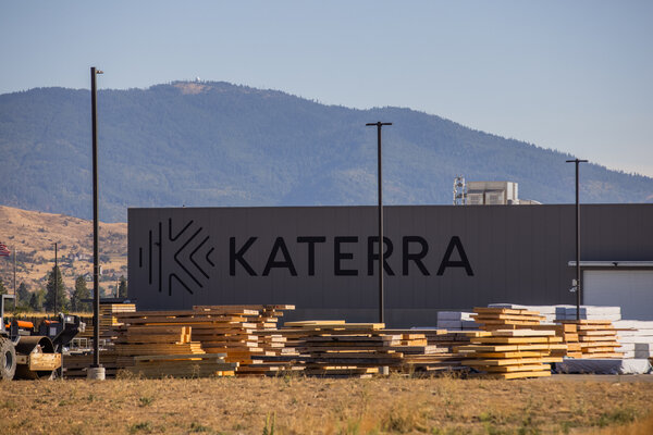Katerra's $150 million plant on the outskirts of Spokane, Wash., is the newest and largest of nine in the United States that make laminated wood panels.