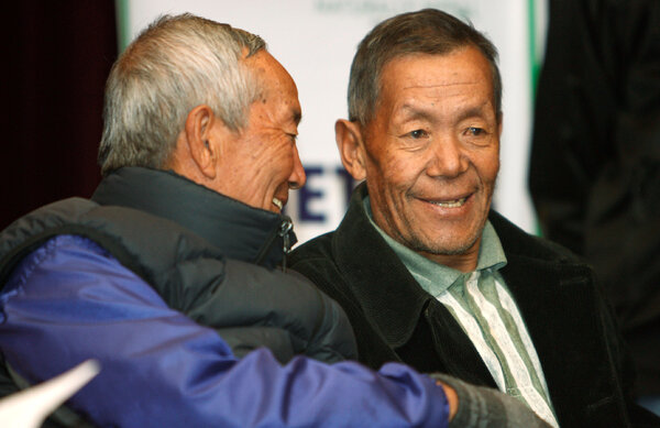 Ang Rita, right, in 2009 with another Everest climber, Min Bahadur Sherchan. Ang Rita stopped climbing after the 1996 Everest disaster and enjoyed his retirement to the fullest.