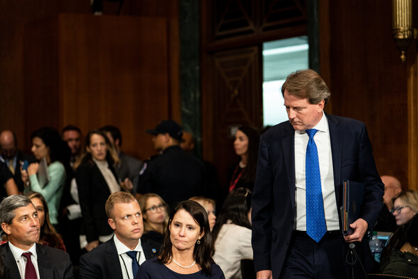 Donald F. McGahn, White House counsel, watched as Judge Brett M. Kavanaugh testified in front of the Senate Judiciary committee in 2018.