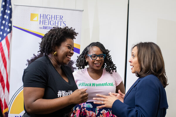 From left, L. Joy Williams and Glynda C. Carr of Higher Heights with Senator Kamala Harris, now the vice president-elect, in Columbia, S.C., last November.