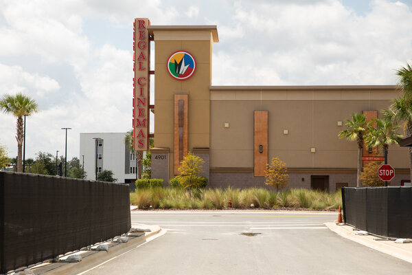 A closed Regal Cinemas movie theater in Gainesville, Fla., in July. The chain had reopened in parts of the United States over the summer, but about 200 theaters, mostly in California and New York, have remained shut since the pandemic began.