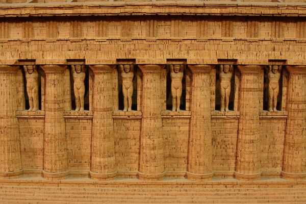 The Atlas statues depicted in a model of the Temple of Zeus at the Archeological Museum in Agrigento, Italy.