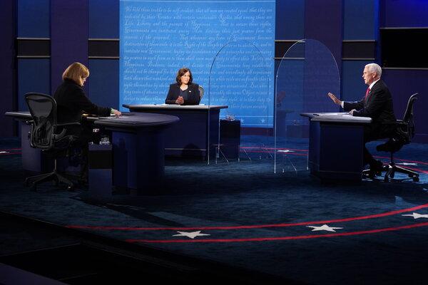 Senator Kamala Harris of California andVice President Mike Pence debated in Salt Lake City on Wednesday.