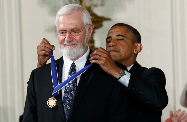 President Barack Obama awarded the Presidential Medal of Freedom to William Foege in 2012 during a ceremony at the White House.