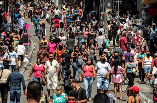 Downtown São Paulo on Wednesday. Life has started to return to normal in Brazil's biggest cities, but concerns remain about a second wave of the virus.