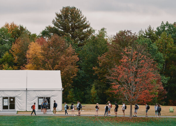 Students enter a COVID-19 testing center on the campus of Colby College in Waterville, Maine on Tuesday, Sept. 29, 2020.
