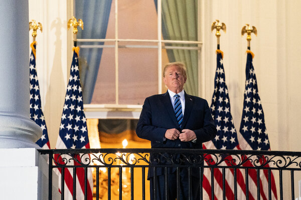 President Trump at the White House on Monday after being discharged from Walter Reed National Military Medical Center.