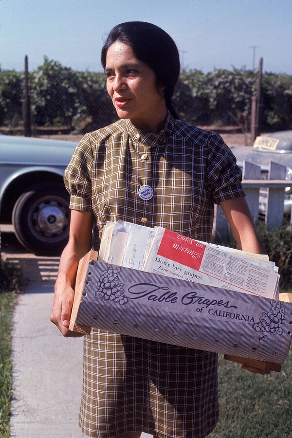 Ms. Huerta during a grape pickers' strike, circa 1968.
