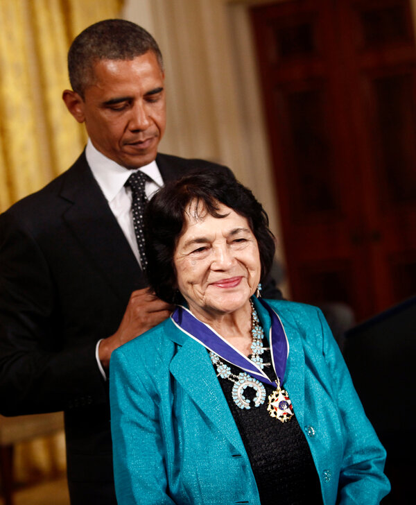 Ms. Huerta receiving the Presidential Medal of Freedom in 2012.