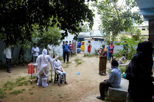 A coronavirus testing site in Hyderabad, India, this past week. With more than seven million total cases, India is second only to the United States.