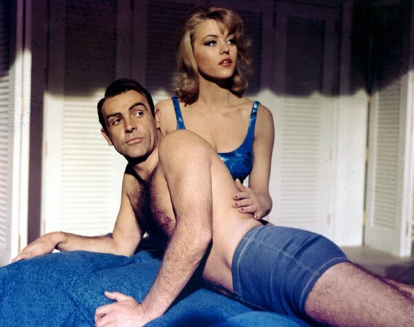 """Sean Connery and Ms. Nolan in """"Goldfinger."""" The filmmakers wanted her to be the body in the title sequences but she agreed to do it only if she were given a role in the movie."""