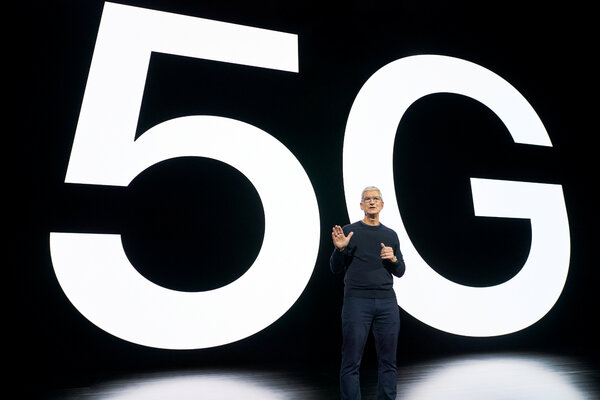 Tim Cook, chief executive of Apple, speaking about the new iPhone and 5G on Tuesday.