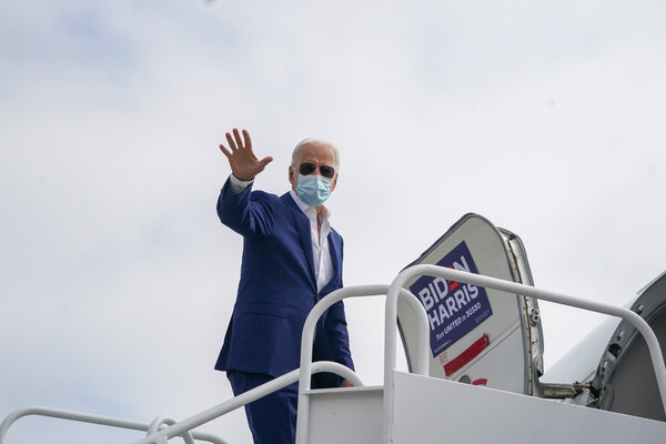 Joseph R. Biden Jr. at New Castle Airport in Delaware before flying to Florida on Tuesday.