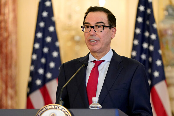 Steven Mnuchin, the Treasury secretary, and Speaker Nancy Pelosi continue to talk, but the two parties remain far apart on agreeing to the terms of a financial relief plan.