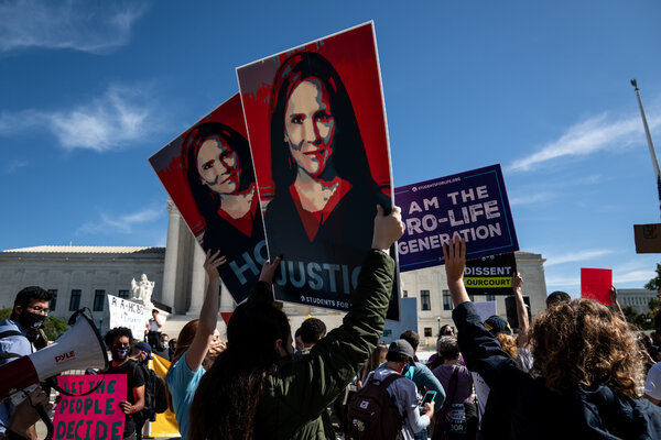 Supporters and opponents of Judge Amy Coney Barrett rallied outside of the Supreme Court.