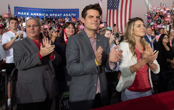 Representative Matt Gaetz, a Florida Republican, at another Trump rally in Florida earlier this week.