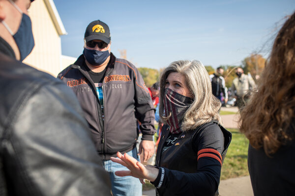 Senator Joni Ernst at a campaign stop in Des Moines last Sunday.