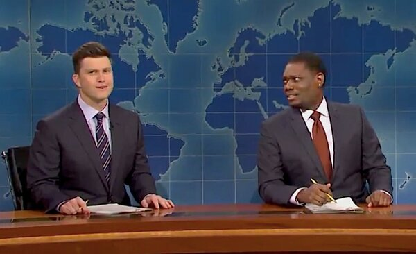 Colin Jost, left, and Michael Che joked about President Trump's coronavirus rhetoric.