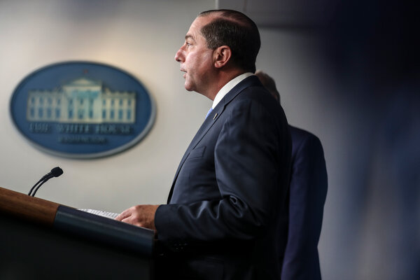 Alex Azar, the secretary of health and human services, pictured in August.