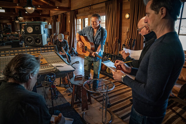 """From left: Max Weinberg, Charlie Giordano, Bruce Springsteen, Roy Bittan and Garry Tallent in the studio. Springsteen's new album with the E Street Band, """"Letter to You,"""" is due Friday."""