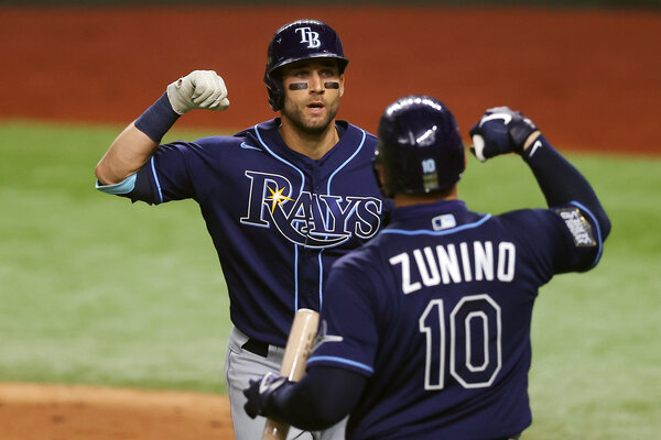 Kevin Kiermaier with Mike Zunino after his solo homer in the fifth.